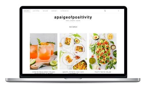 apaigeofpositivity screenshot on laptop