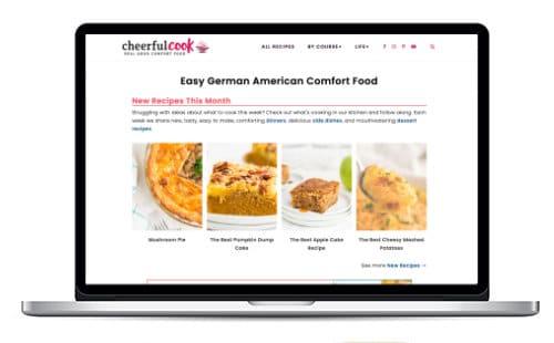 CheerfulCook.com screenshot on laptop